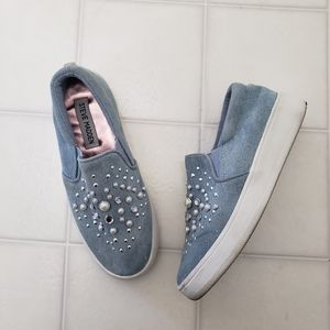 Steve Madden Denim Pearl Slip On Sneakers